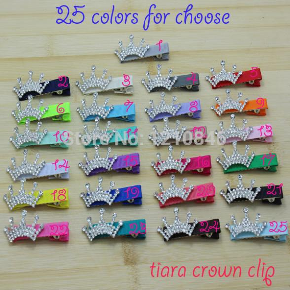 Trail order baby girl rhinestone tiara Crown clip 25 colors grosgrain ribbon covered hairpin kids hair accessories 25pcs/lot(China (Mainland))