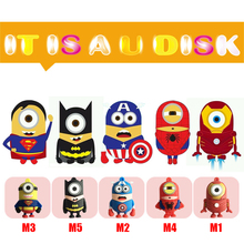 pen drive minions usb flash drive cartoon usb stick minion superhero pendrive cute usb stick 4G 8G 16G for boy gift flash card