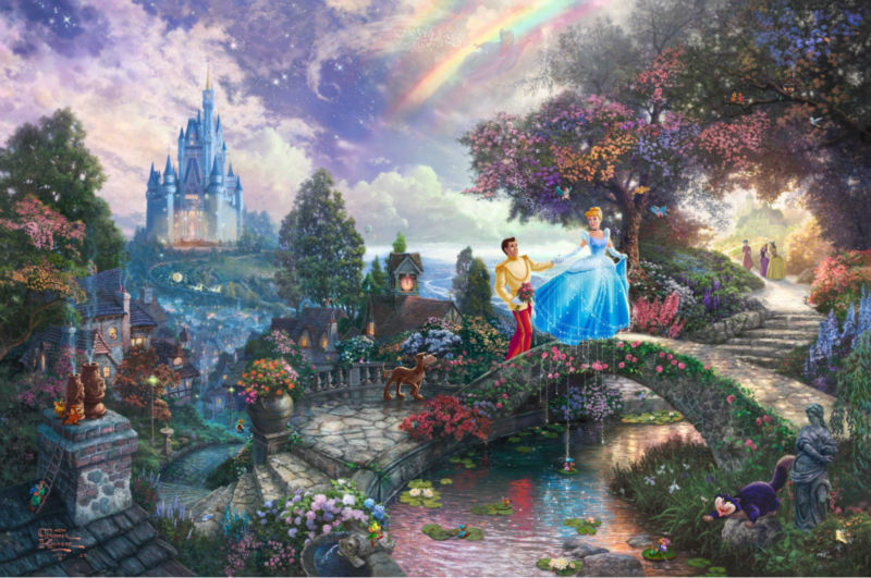 Thomas kinkade Prints on canvas famous oil painting Print reproduction Cinderella Wishes Upon A Dream cartoon picture art decor(China (Mainland))