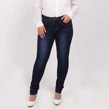 2016 Winter autumn fashion brand plus size jeans blue color casual brand denim pants woman pencil jean trousers  L-5XL big size(China (Mainland))