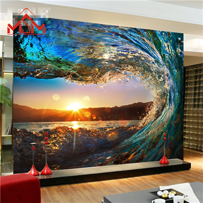 wallpaper 3d wall mural papel de parede photo wall paper waves mural. Black Bedroom Furniture Sets. Home Design Ideas
