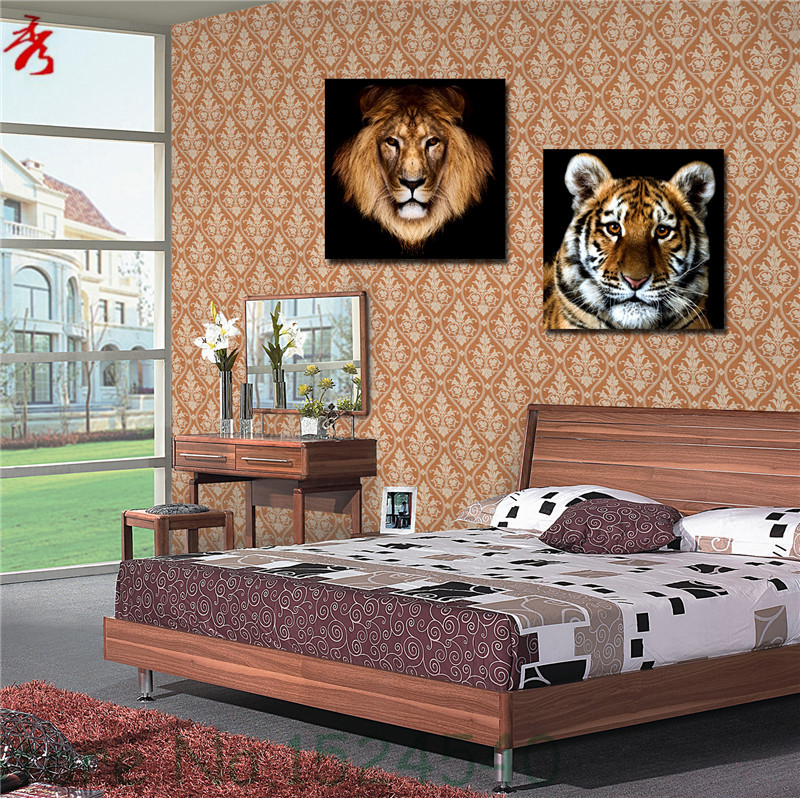 2 Pcs Square Animals Modular Picture Waterproof Canvas Printing Unframed Painting Living Room Wall Tiger Lion Home Art Decor(China (Mainland))
