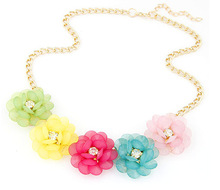 star Jewelry wholesale 4 colors Gold Plated Flower Statement Necklace For Woman 2015 New collar necklaces & pendants Sale 69
