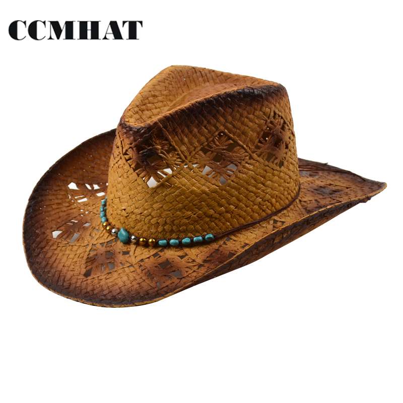 2017 Fashion Hollow Adult Cowboy Hats High Quality Paper Men's Straw Hats Grade Turquoise Decoration Women's Cowboy Hats Caps(China (Mainland))