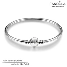 NEW 100% 925 Sterling Silver Bangles with Cubic Zirconia Bracelet Compatible With Pandora jewelry for Women wholesale FLB018(China (Mainland))