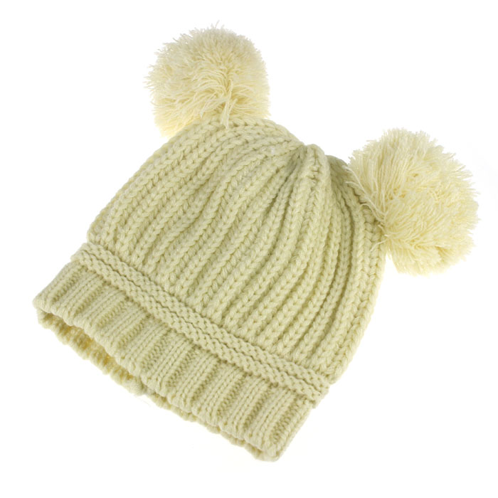 The most Cute Baby Kids Girl Boy Dual Balls Warm Winter Knitted Cap Hat Beanie