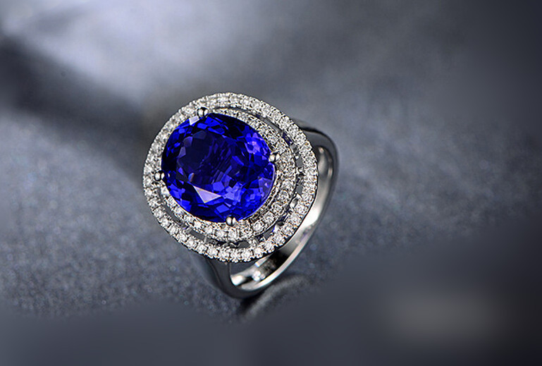 3 carat 925 sterling silver tanzanite diamant ring high-end sapphire stone man made diamond ring for women US size from 4.5 to 9(China (Mainland))