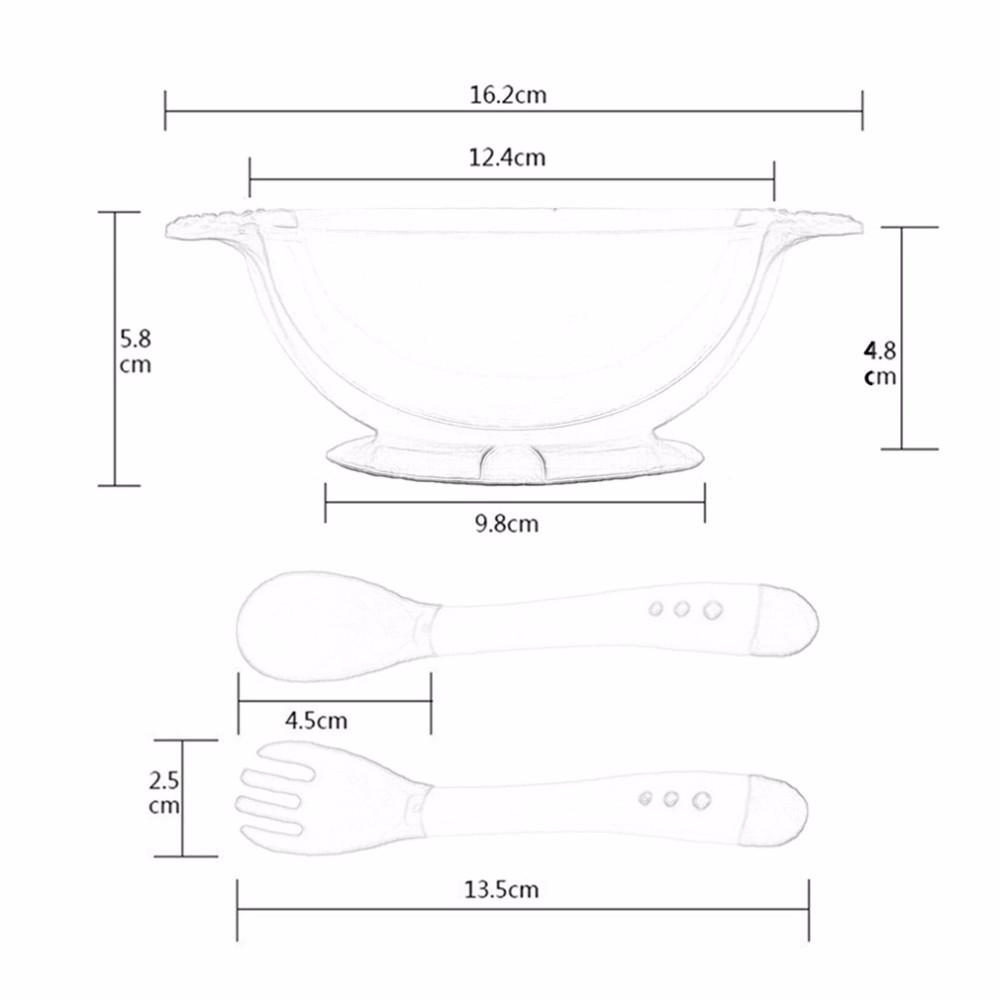 Новый 1 компл. / 3 шт. ребенок ложка чаша обучения блюда с присоской помочь кормушки измерения температуры ложка детские посуда