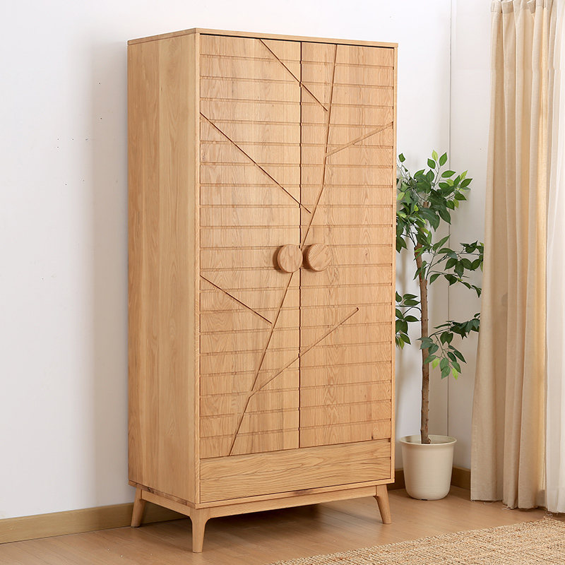 Wild Oak W921 Double Door Wardrobe Closet White Oak Solid