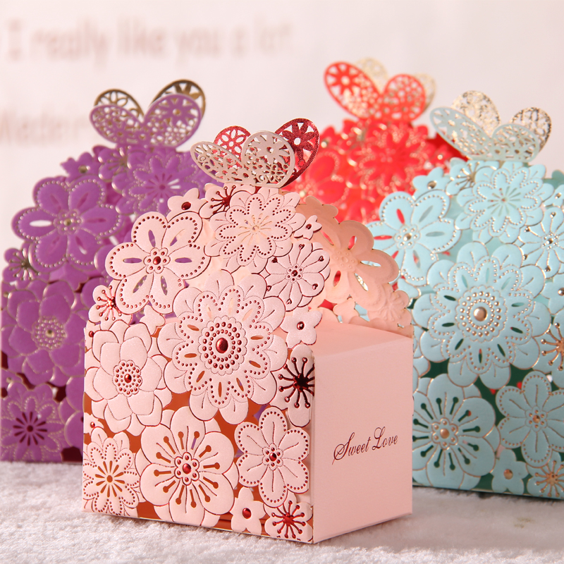 Butterfly candy favor boxes : Blue red lace butterfly laser cut wedding favor boxes