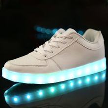 2015 New Men and Women Fashion Luminous Shoes High Quality LED Lights USB Charging Colorful Shoes Lovers Casual Flash Sneakers(China (Mainland))