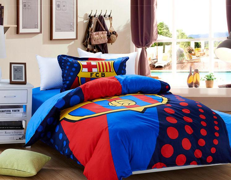 HOT SELLING 100 Cotton luxury barcelona bedding set Blue quilt cover  flat sheet and pillowcases designer bed sets(China (Mainland))