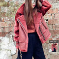 New Real Sheepskin Fur Coats Double faced Jackets Loose Short Female Warm Outerwear Black Slim Real