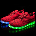 Men Casual Flashing Lights Fly Woven LED Shoes autumn winter warm shoe Unisex Brand Breathable Light