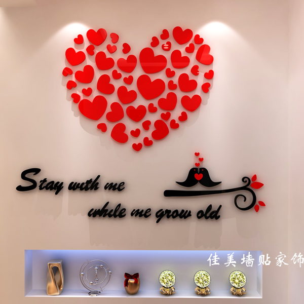 Free shipping 3D Acrylic crystal wall love wall stickers TV wall living room entrance bedroom bed warm home decor L-XXL