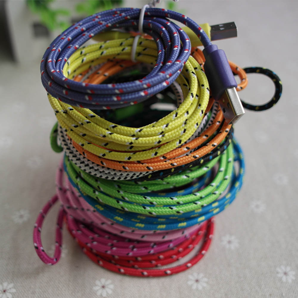 High Quality Durable Braided Nylon 30pin USB Data Sync Charger Cable cord for Apple iPhone 4 4s(China (Mainland))