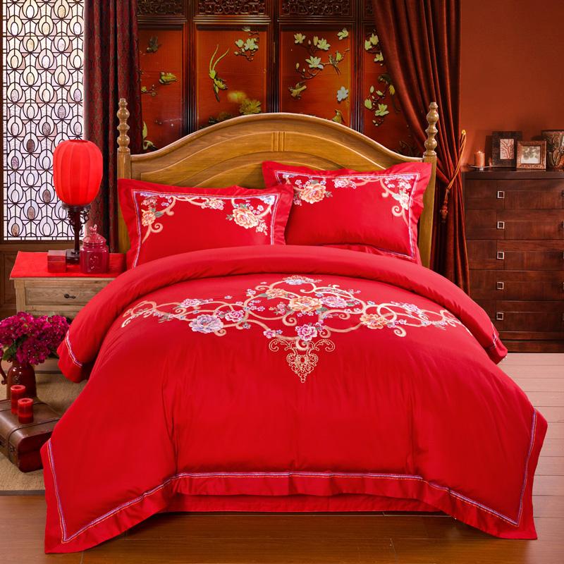 Luxury Wedding Dragon Wedding 100% cotton bedding sets sheets comforter cover China Traditional Wedding 4pcs bedding sets(China (Mainland))