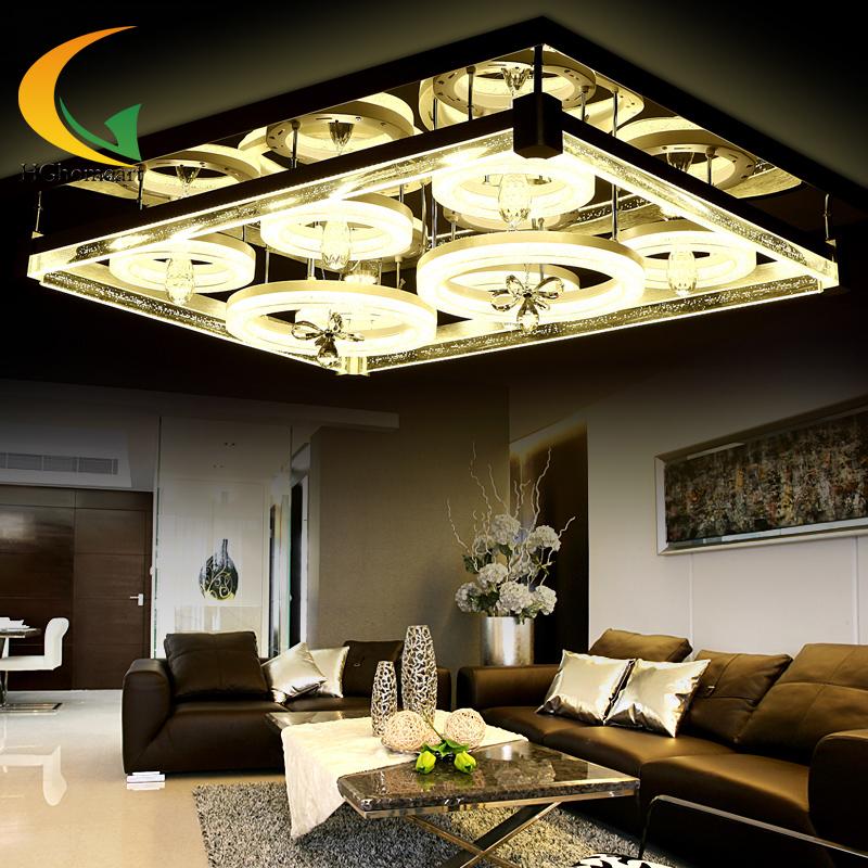 Living Room Lighting Rectangular Atmosphere Crystal Lamp Remote Control LED Ceiling Master Bedroom Moder