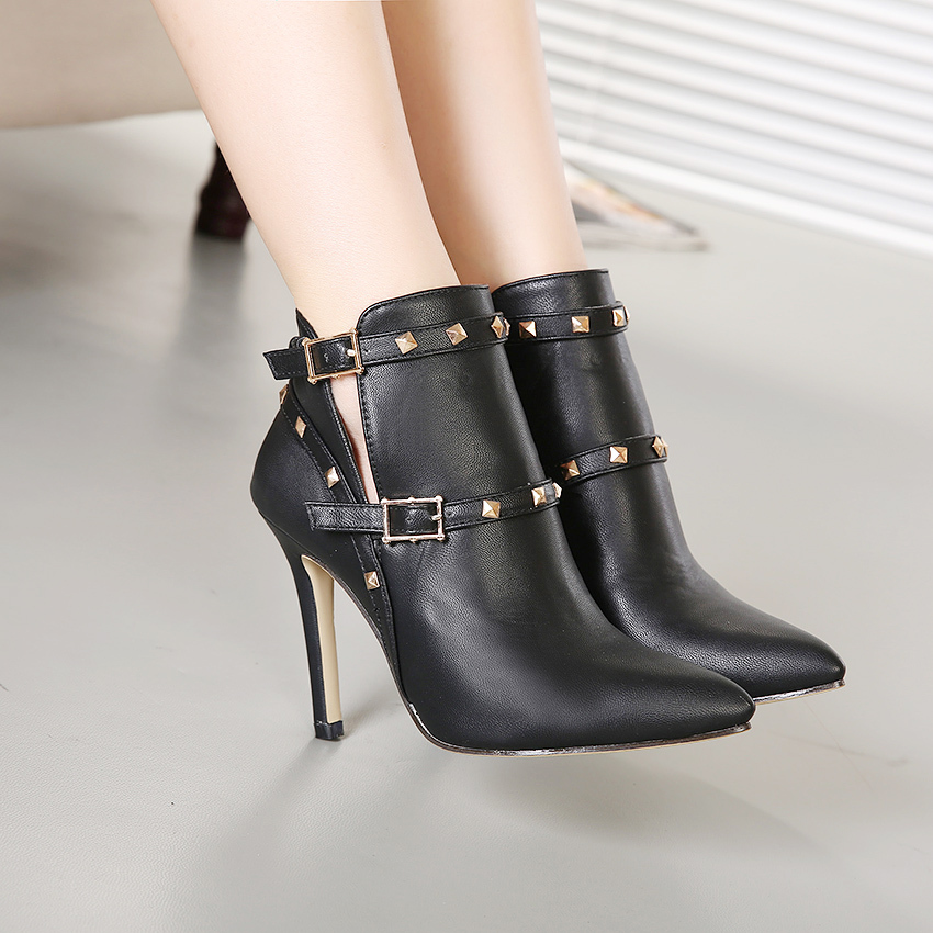 Women Pumps Fashion Boots Studded Spike Bootie High Heels Stiletto With Spikes Rivets Heels Sapatos Shoes for Women Ankle Boots(China (Mainland))