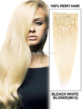 Discount!!Oxette #613 Clip in Hair Extensions Brazilian Human bleach blonde Remy Quality silky soft Straight Clip on Hair Extens(China (Mainland))