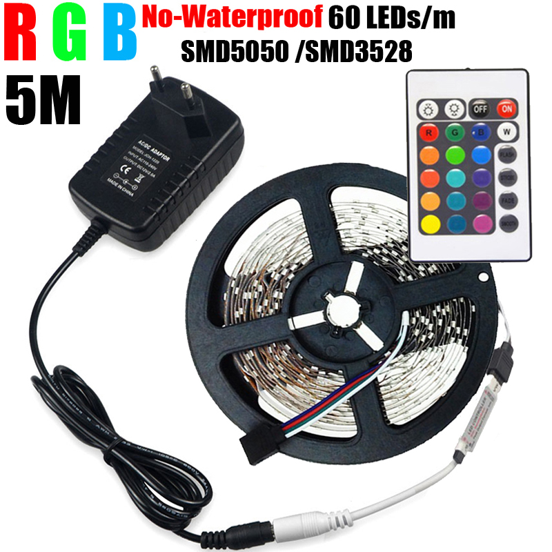 5m RGB 5050/3528 LED Strip 300Led SMD 300LEDs Non Waterproof Lamps DC12V LED light + IR Remote Controller + 12V 2A Power Adapter(China (Mainland))