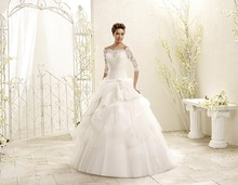 2015 Vintage Lace Floor Length Wedding Dress Bridal Gown With Sleeves Three Quarter Sleeve Ball Gown Bridal Wedding Gown F1703(China (Mainland))
