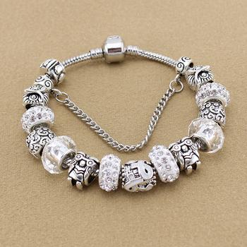 Прозрачный кристалл бусины сова браслеты и браслеты для женщины серебро европейский ...