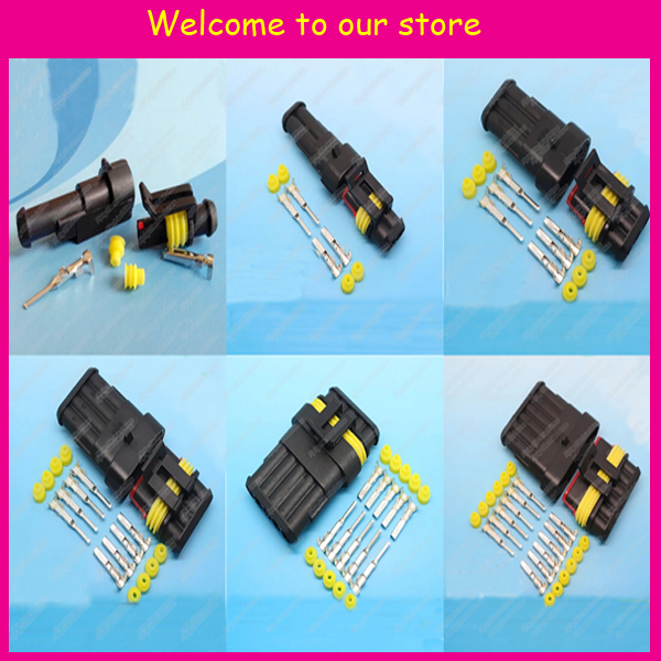 6sets 1.5 auto connector 1&2&3&4&5&6Pin/way HID Waterproof Electrical connector kit for car boat ect(China (Mainland))