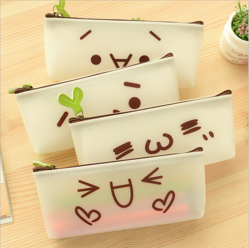 School Stationary Student Lovely Pencil Bags Emotion Icon Pattern Pencil Case Cute PVC Pencil Pouch Waterproof Storage(China (Mainland))