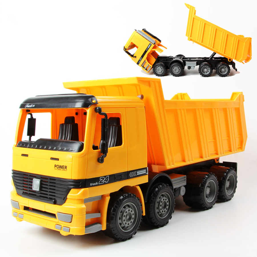 Vehicles Large Boy 1:22 Simulation Dump Truck Sandy Beach Children's Favorite Toy Inertia Car Pull Back Model Kids Gift Toys(China (Mainland))