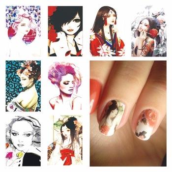 WUF 1 Sheet Optional Harajuku Designs DIY Decals Nails Art Water Transfer Printing Stickers For Nails Salon