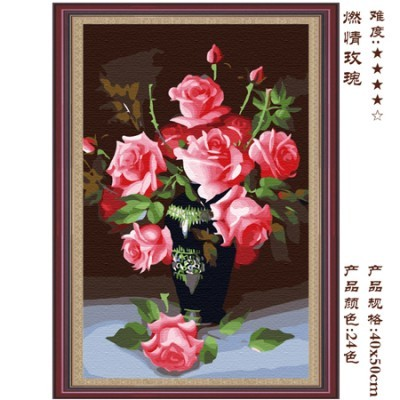 Hot-selling diy digital oil painting decoration painting flower rose - 40 50