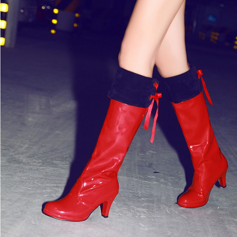 High Quality Woman Sexy Solid Retro Round Toe Knee High Winter Charming Show Boots Daily Thin High Warm Fur Slip On Boots