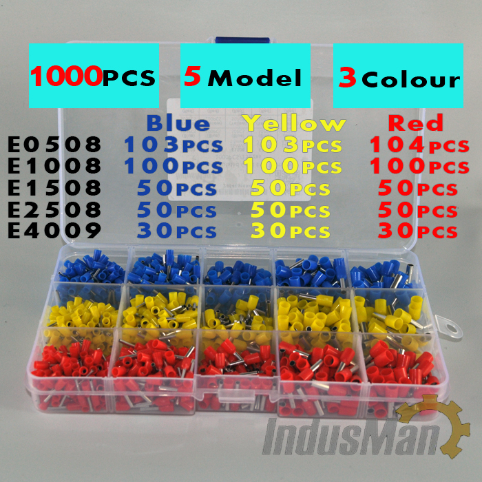 1000pcs/lot Bootlace cooper Ferrules kit set Wire Copper Crimp Connector Insulated Cord Pin End Terminal(China (Mainland))