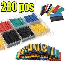 280pcs Free Shipping 2:1 8 Sizes 11 Colors Assortment Polyolefin H-type Heat Shrink Tubing Tube Sleeving  Wrap Wire Cable Kit
