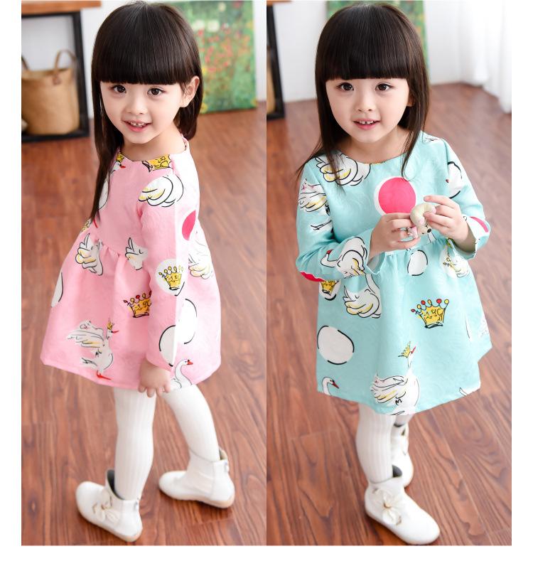 New Autumn Spring Children Girls Dress Fashion Swan Dot Design Print Baby Girls Princess Dresses Kids Clothes Girls Tutu Dresses(China (Mainland))