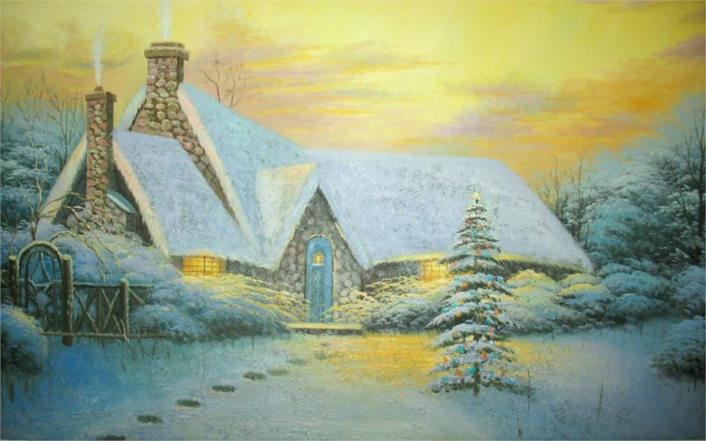 24X36 INCH / ART SILK POSTER / Painting Thomas Kinkade picture Christmas Tree Cottage Winter the cottage fence(China (Mainland))