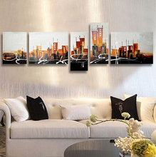 Buy Free 5 Pcs Handmade Modern Crazy Abstract Oil Painting Canvas Wall Art Home Decoration City Frame for $36.72 in AliExpress store