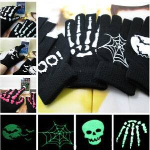 Soft Warm Unisex Hallowmas Theme Capacitive Screen Touch Gloves Noctilucous Skull Bat Mittens Smartphone Knit Telefingers Gloves(China (Mainland))