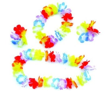 10sets Party Supplies Hawaiian Flower Leis Garland Hawaii Wreath Cheerleading Products Silk Necklace Party costumes HH0026