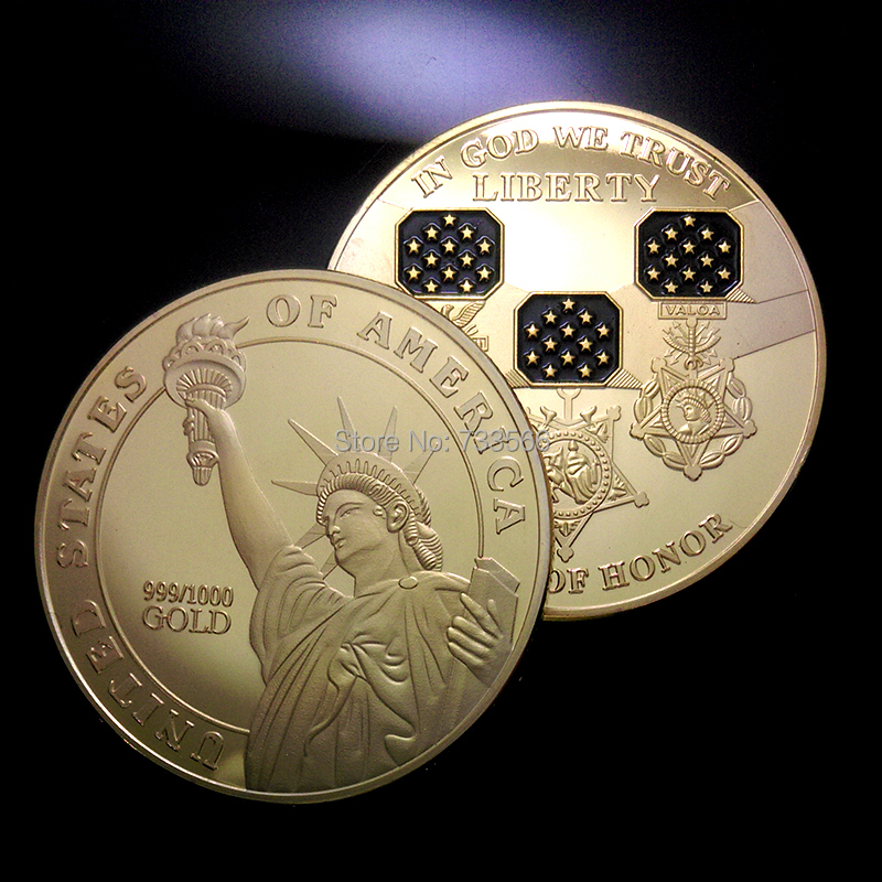 100 pcs/lot The American Medal of Honor coin 40*3mm gold plated collection coin DHL free shipping IN GOD WE TRUST LIBERTY(China (Mainland))