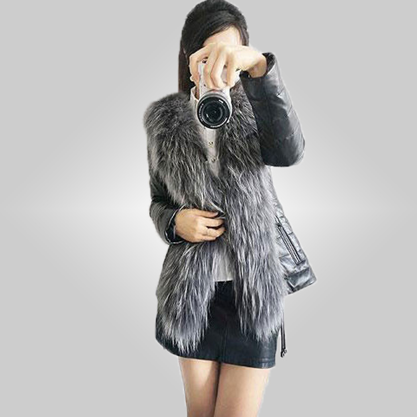 free shipping 2015 Winter New Products Female Fur Coat Slim Full Sleeve Leather Jackets Women Fox Fur Outerwear plus size 85(China (Mainland))