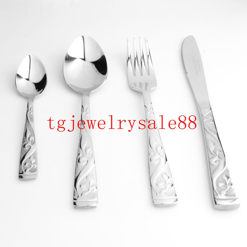 Buy Personality Silver Gold Exquisite Pattern Stainless Steel Dinner 4pcs/set Fork/Spoon/Knife Flatware Tableware Design Modern Look cheap