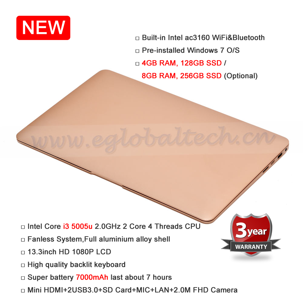 8GB RAM 256GB SSD Fanless 13.3inch Netbook 7000mAh Battery 2.0M FHD Camera Max 433M WiFi BT Better Than Mini HTPC or Laptop(China (Mainland))
