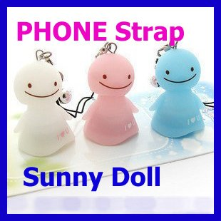 Free Shipping wholesale 5pcs/lot Lovely Sunny Doll Cell Phone charm Strap for iphone etc can flash - ( White, Pink, Ice Blue)(China (Mainland))