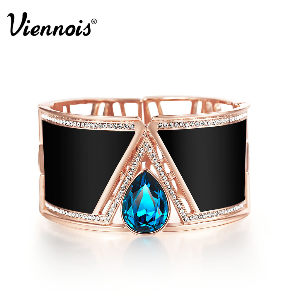 2015 Classic Summer Viennois Jewelry Rose Gold Cuff Bracelet & Bangles for Women Rock Queen Style with Austrian Rhinestone(China (Mainland))