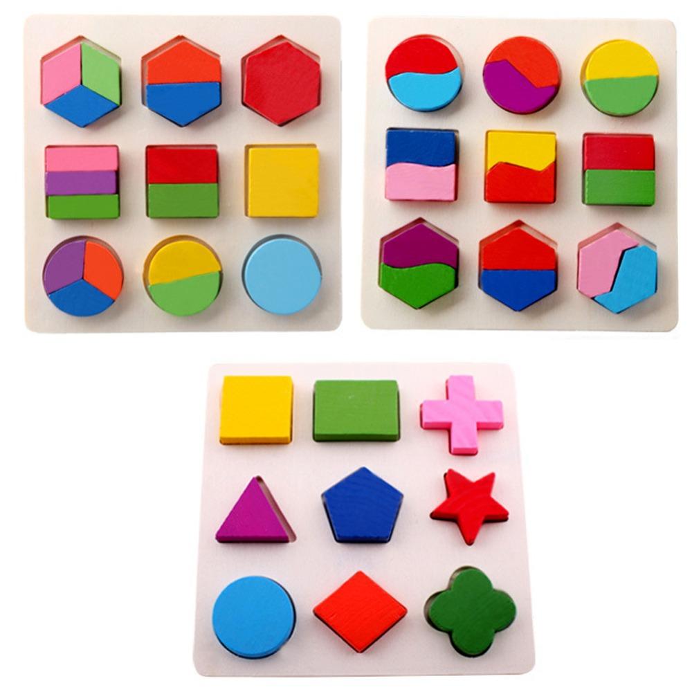 [해외]나무 사각형 모양의 퍼즐 장난감 몬테소리 조기 교육 학습 어..