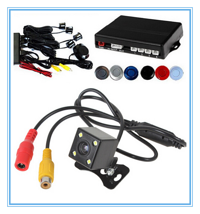 Parktronic Two in one Car Reverse Backup Parking Sensor With LED Night Vision Rear View CCD Camera.Video Parking Monitor System(China (Mainland))