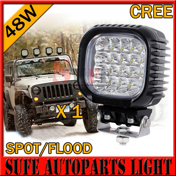 1PCS Strong Shell 48W CREE LED Work Light 4X4 Truck Tractor Boat Off Road ATV Spot 12V/24V IP67 Driving Headlight FOG Lamp 60W(China (Mainland))