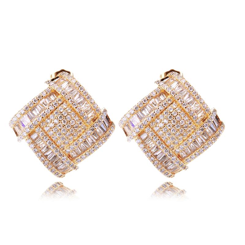 Cocktail jewelry earrings 2015 high quality aaa zircon square shape earrings fancy square post earring best wedding jewelry()